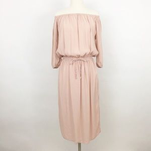 NWOT who what wear | blush prairie midi dress sz M